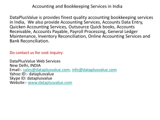 Accounting and Bookkeeping Services in India