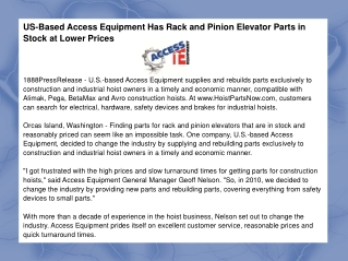 US-Based Access Equipment Has Rack and Pinion Elevator Parts