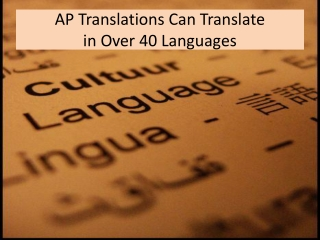 AP Translations Can Translate in Over 40 Languages