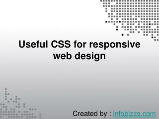 Useful CSS for responsive web design