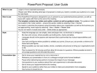 PowerPoint Proposal: User Guide