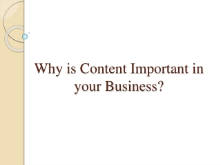 Why is Content Important in your Business