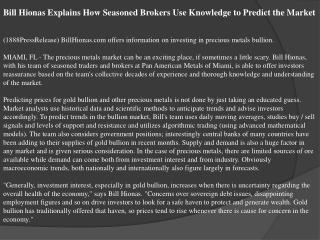 bill hionas explains how seasoned brokers use knowledge to p