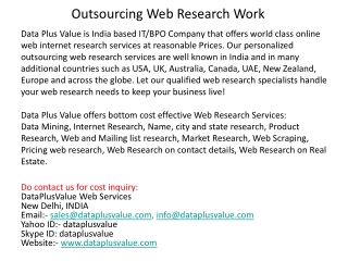 Outsourcing Web Research Work