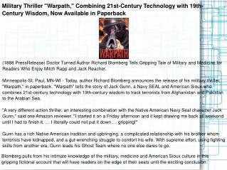 "Military Thriller ""Warpath,"" Combining 21st-Century"
