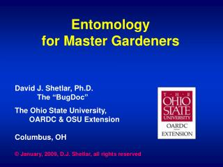 Entomology for Master Gardeners