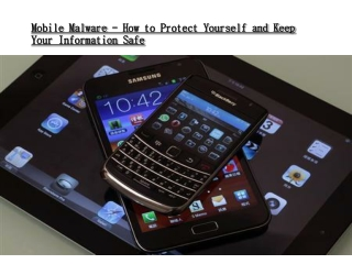 Mobile Malware - How to Protect Yourself