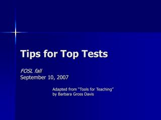 Tips for Top Tests