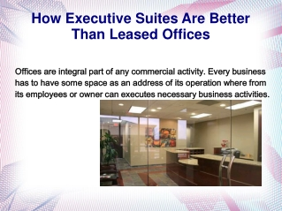 How Executive Suites Are Better Than Leased Offices