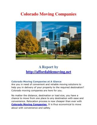 Colorado moving companies