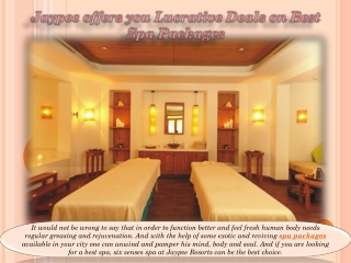 Jaypee offers you Lucrative Deals on Best Spa Packages