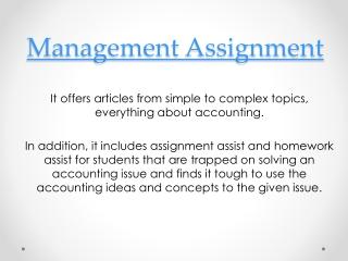 Online Management Assignment,
