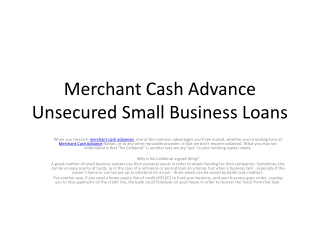 Offers Merchant Cash Advance Unsecured Small Business Loans