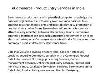 eCommerce Product Entry Services in India