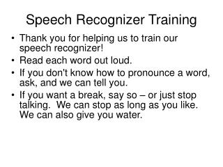 Speech Recognizer Training