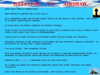 WELCOME TO AIRSHAW