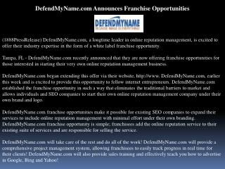 defendmyname.com announces franchise opportunities