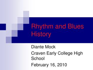 Rhythm and Blues History
