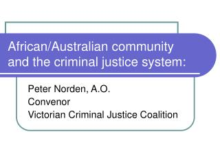 African/Australian community and the criminal justice system: