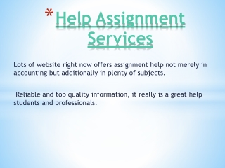 Help with Assignment services