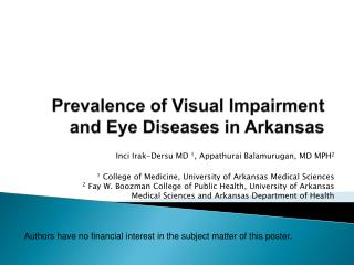 Prevalence of Visual Impairment and Eye Diseases in Arkansas