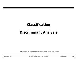 Classification Discriminant Analysis