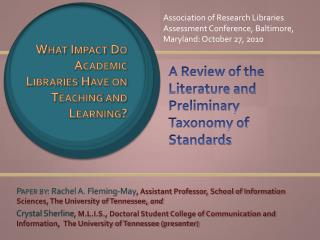 A Review of the Literature and Preliminary Taxonomy of Standards