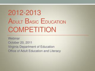 2012-2013 Adult Basic Education Competition