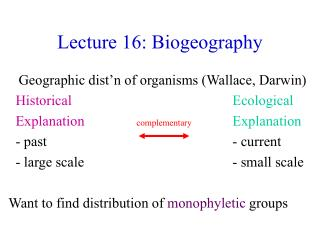 Lecture 16: Biogeography