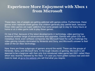 Experience More Enjoyment with Xbox 1 from Microsoft