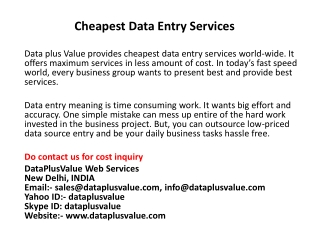 Cheapest Data Entry Services