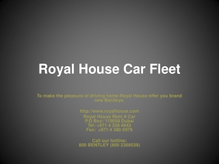 Royal House Rent A Car In Dubai