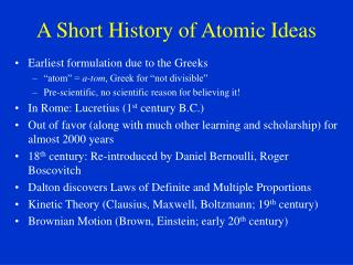 A Short History of Atomic Ideas