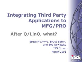Integrating Third Party Applications to MFG