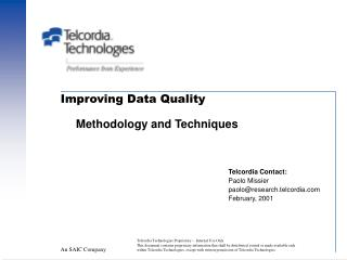 Improving Data Quality Methodology and Techniques