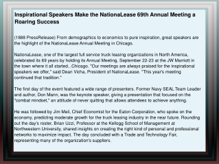Inspirational Speakers Make the NationaLease 69th Annual Mee