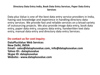 Directory Data Entry India| Book Data Entry Services