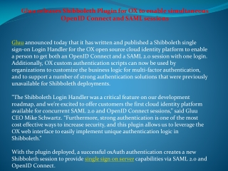 Gluu releases Shibboleth Plugin for OX to enable simultaneo