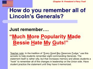 How do you remember all of Lincoln's Generals?