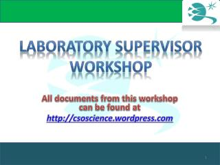 Laboratory Supervisor workshop