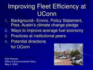Improving Fleet Efficiency at UConn