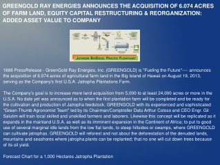 GREENGOLD RAY ENERGIES ANNOUNCES THE ACQUISITION