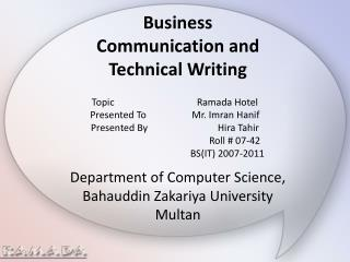 Business  Communication and  Technical Writing