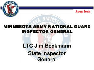 MINNESOTA ARMY NATIONAL GUARD INSPECTOR GENERAL