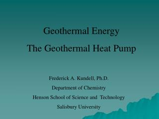 Geothermal Energy The Geothermal Heat Pump