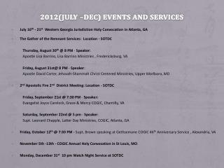 2012(July –Dec) Events and Services