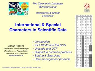 International & Special Characters in Scientific Data