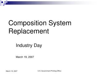 Industry Day March 19, 2007