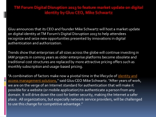 TM Forum Digital Disruption 2013 to feature market update on