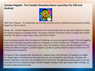 Zombie Ragdoll - Fun Zombie Shooting Game Launches For iOS a